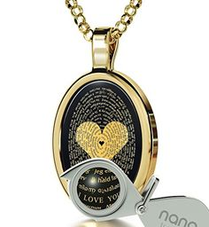 Gold Plated Love Necklace Inscribed with I Love You in 120 Languages on Onyx Pendant 18 Gold Filled Chain ** You can get more details by clicking on the image.(This is an Amazon affiliate link and I receive a commission for the sales)