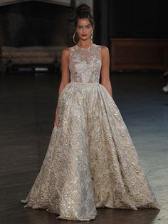 Berta A-line wedding gown with metallic floral fabric