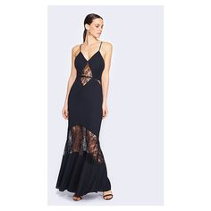 Fame&Partners V Neck Cocktail Black Lace Genie Dress (319 AUD) ❤ liked on Polyvore featuring dresses, black, v-neckcocktailmaxilace, formal maxi dresses, formal cocktail dresses, lace dress, black prom dresses and formal dresses