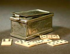 Small metal box and bone traveling domino game set