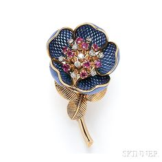 18kt Gold and Plique-a-Jour Enamel Flower Brooch, France, the hinged enamel petals opening to reveal rubies and diamonds set en tremblant, lg. 2 3/8 in., maker's mark and guarantee stamps.