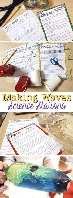 Making Waves - Wave Properties science stations for fourth grade each students about what happens when sound enters the ear.  Within these stations, students learn about sound waves, construct a phone, diagram different types of waves, model vibrations, learn about ocean waves, and learn about transverse and longitudinal waves.