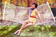 """Desert Jet Setter"" May 2012  Creative Director | Stylist {Sydney Ballesteros} * Photography | Stacia Lugo * Model | Lisa Marie {FORD} Wardrobe | Black Cat Vintage * Shoes | Miu Miu      #vintage #style #spring2012 #colorfuldesert #palmsprings #1950s #gingham"
