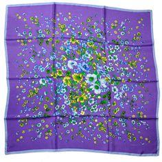 Versace Silk Square Scarf Purple Flowers