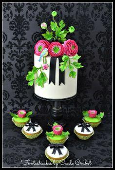 Ranunculus and Bird Cake - by CecileCrabot @ CakesDecor.com - cake decorating website