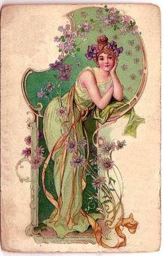 Art Nouveau Mucha, Alphonse Mucha Art, Art Nouveau Poster, Images Vintage, Vintage Diy, Vintage Postcards, Motif Art Deco, Art Nouveau Design, Images Victoriennes