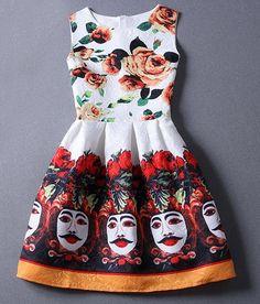 Retro Women's Round Collar Printed Sleeveless Dress