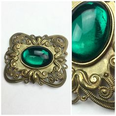 Vintage Miriam Haskell Brooch 40s Green Gem Gold by TBBVintage