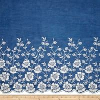 TELIO Denim Embroidered Single Border Floral White Fabric By The Yard How cute would this be as summer crop pants or tea length skirt? Lace Embroidery, Hand Embroidery Designs, Embroidered Lace, Embroidery Patterns, Embroidery Suits, Pdf Patterns, Textile Patterns, Embroidery Stitches, Machine Embroidery
