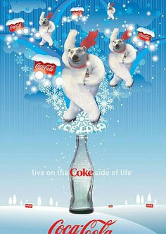 Coke Side of Life: Coca-Cola Art Remix by Coca-Cola Art Gallery Coca Cola Poster, Coca Cola Santa, Coca Cola Polar Bear, Coca Cola Christmas, Pepsi Cola, Santas Vintage, Vintage Coke, Coca Cola Pictures, Ideas