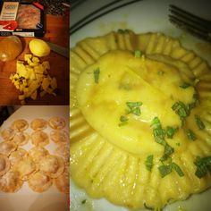 Ravioli fatti in casa con gamberoni patate e erbe aromatiche - Al.ta Cucina Camembert Cheese, Dairy, Food, Mint, Meal, Eten, Meals