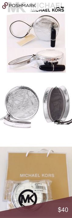 """🌪🎉HP🎉🌪MICHAEL KORS Metallic Pouches Coin Purse NWT Glamorous MICHAEL Michael Kors Round Metallic Silver Leather Pouches Zip-Round Wristlet Coin Purse with Part detachable strap which can be added and attached to your inner or outer Bag/Purse. * Small sized bag; 4""""W x 4""""H x 1-1/4""""D * 9-3/4""""L strap * Zip closure * Exterior features shiny rhodium-tone    hardware * Leather; lining: polyester * Imported MICHAEL Michael Kors Bags Clutches & Wristlets"""