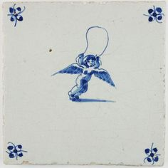 Antique Dutch Delft tile with Cupid with a jumping rope, 17th century