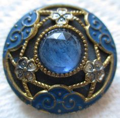 Stunning Old Antique~ Vtg GAY 90's Metal BUTTON w/ ENAMEL & Faceted Azure GLASS