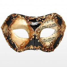 Venetian Mask Colombina scacchi oro cuoio stucco musica