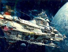 Spaceship approaching a Blue Planet by John Berkey.  #Spaceships  #Starships  #JohnBerkey
