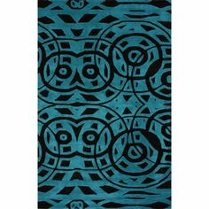 nuLOOM Handmade Modern Abstract Turquoise Wool Rug   Overstock.com Shopping - Great Deals on Nuloom 7x9 - 10x14 Rugs