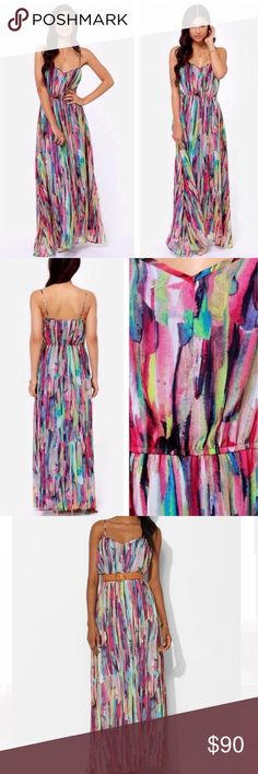 Jack by BB Dakota Rayna Maxi Dress Size M Worn a couple times, great condition  Jack by BB Dakota Rayna maxi dress. Crinkle chiffon dress features all over watercolor print. Adjustable narrow shoulder straps. Elastic waistband and hidden zip closure. Fully lined. BB Dakota Dresses