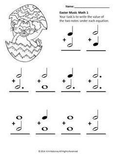 MUSIC: Ten Easter Music Math worksheets - with images for students to color!               $