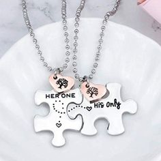 Long Distance Relationship Puzzle Necklace Set. Matching couple gifts. (Best gifts for long distance boyfriend)