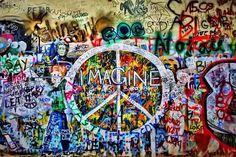 John Lennon wall in Prague, Czech Republic