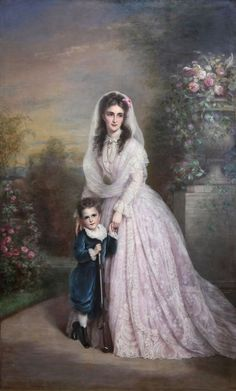 1869 Franz Schrotzberg - Countess Mária Győry and her son(Hungarian National Museum)