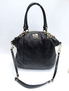 Just in! Coach Black Leather Madison Lindsay Satchel Bag. Save up to 90% off retail at www.ShopKarma.com. High end designer resale! #karmacouture #shopkarma #upscaleresale #shopresale #consignment #designer #fashion #style #coach #handbags