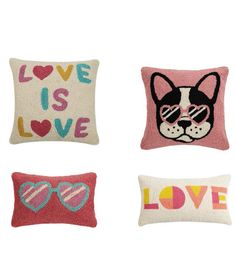 HOOK PILLOWS by Peking Handicraft: LOVE IS LOVE, COOL FRENCH BULLDOG, HEART GLASSES and LOVE Heart Glasses, Handicraft, Valentine Day Gifts, French Bulldog, Throw Pillows, Love, Cool Stuff, Cards, Craft