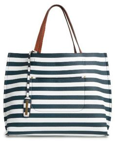 Street Level Reversible Faux Leather Tote - Blue