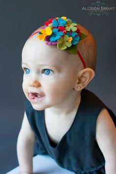 Multicolor Hydrangea Soft Felt Baby Headband. $7.00, via Etsy.