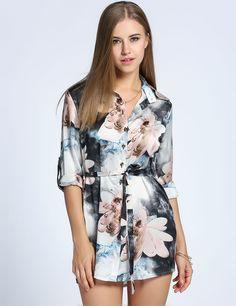 Blue New Fashion Women Water Colour Floral Mini Shirt Casual Dresses dresslink.com