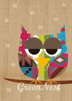 'Hoot' (inka pattern with snowflakes) by Green Nest