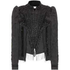 DRIES VAN NOTEN Embellished Jacquard Jacket (€1.695) ❤ liked on Polyvore featuring outerwear, jackets, cropped jacket, military style jacket, military inspired jacket, beaded jacket and dries van noten