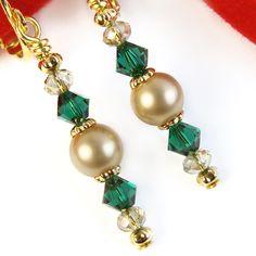 Emerald Green Crystal Gold Pearl Clip On Earrings Swarovski Christmas | PrettyGonzo - Jewelry on ArtFire