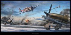 'Happy' New Year, digital art by Gareth Hector (Operation Bodenplatte: Fw 190F-8 of I./JG 6 attack 2nd. Task Air Force airfield at Eindhoven, Netherlands, on January 1, 1945)