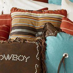 Calhoun Stripe Tufted Pillow Western Bedding, Decor Crafts, Craft Decorations, Western Decor, Bedding Sets, Stripes, Throw Pillows, Leather, Toss Pillows