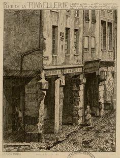 Rue de la Tonnellerie connue en 1300 - en 1557 on nommait ainsi le côté de cette rue, qui reste aujourd'hui - l'autre côté s'appelait - des Toilières - ou de la Toilerie | Grands piliers | Dessin p. A. Potémont 1863