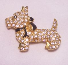 Vintage Monet Rhinestone Scotty Dog Pin by GretelsTreasures, $20.00