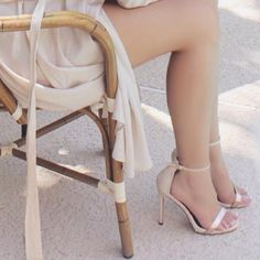 """Classic Nude Heels Elegant everyday heels with a metallic golden strap and a buckle side closure, these heels do run half a size bigger. Made out of faux leather/PU material. Heel height is 5"""" Shoes Heels"""