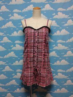 Tartan Frill Salopette Shorts in Pink from Liz Lisa - Lolita Desu