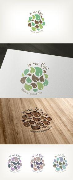 como utiliza una ilustracion sencilla para darle movimiento al logo, logrando que sea divertido pero aun elegante. In The Raw, Organic Tanning Co. logo / design layout