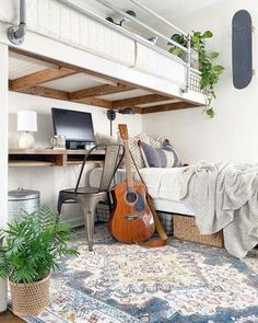 What a fantastic use of space! 👍 created a functional loft that looks amazing! Featuring our Millican Area Rug, we're so excited to be a part of this home designed with a purpose! Farmhouse Rugs, Farmhouse Decor, Farm Rugs, Colorful Bedding, Facade House, House Facades, Small Places, Interior Styling, Interior Decorating