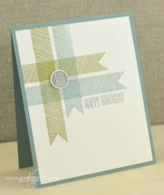 handmade birthday card ... clean and simple ... like the stamped corner with woven look  ...