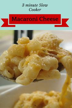 slow cooker macaroni cheese recipe with just 3 minutes prep time! Cheesy pasta in the crockpot. UK and US measurements.
