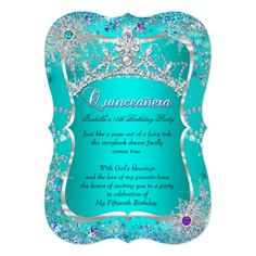 Quinceanera 15th Winter Wonderland Teal Purple Card
