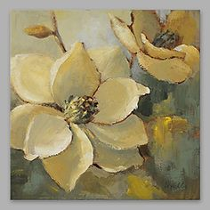 Pintada a mano Floral/Botánico Cuadrado,Modern Pintura al óleo pintada a colgar Decoración hogareña Un Panel