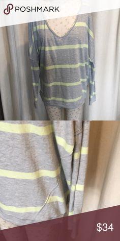 Free People Upstate Tee Oversized softie stripe pullover with exposed seams. Free People Tops Sweatshirts & Hoodies