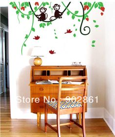 Cheap stickers for wall decor, Buy Quality decal paper directly from China decal wall Suppliers: 		 	[funlife]-Happy Monkey Childen room Home Wall Decals Stickers 44x66cm	  	you will get	material:high qualit
