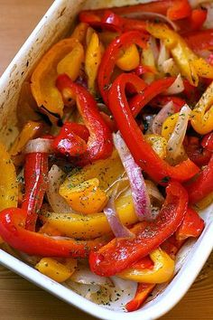 Oven roasted sweet peppers:  2 peppers (red and yellow, or whatever you fancy), sliced into strips 1 small red onion, sliced  1 tbsp olive oil  Juice of half a lemon  Salt and pepper to taste
