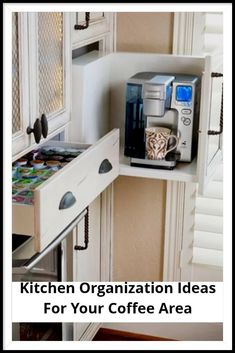 Clever kitchen organization ideas for the coffee maker / coffee bar area in your small kitchen. LOVE these built in shelves and drawers for staying organized!